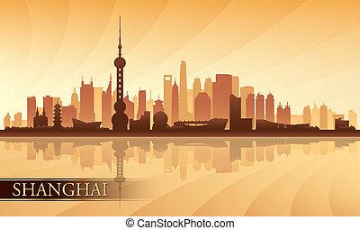 perfil de ciudad, shanghai, silueta, plano de fondo