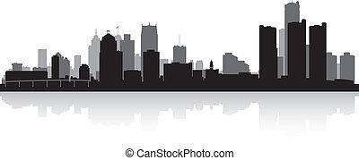 perfil de ciudad, silueta, detroit