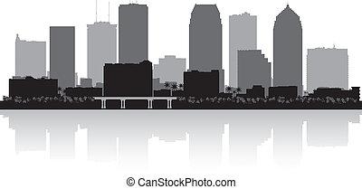 perfil de ciudad, silueta, florida, tampa