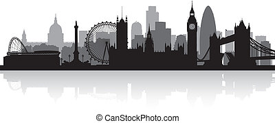 perfil de ciudad, silueta, londres