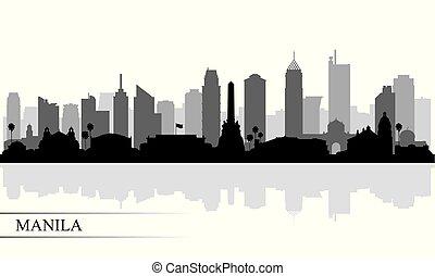 perfil de ciudad, silueta, manila, plano de fondo