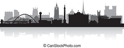 perfil de ciudad, silueta, newcastle