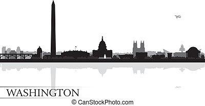 perfil de ciudad, silueta, plano de fondo, washington