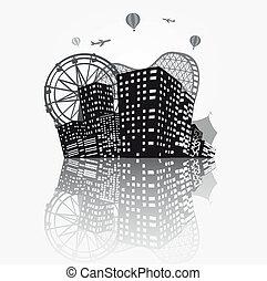 perfil de ciudad, silueta, plano de fondo