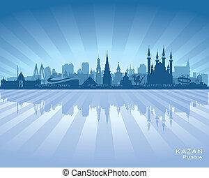 perfil de ciudad, silueta, rusia, kazan