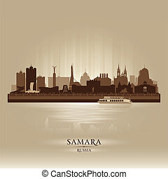 perfil de ciudad, silueta, rusia, samara