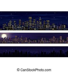 perfil de ciudad, skyline., colección, noche