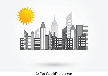 perfil de ciudad, soleado, rascacielos, día