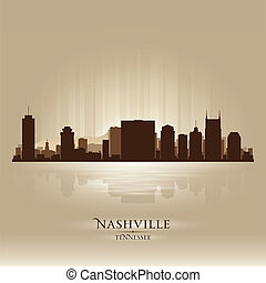 perfil de ciudad, tennessee, silueta, nashville