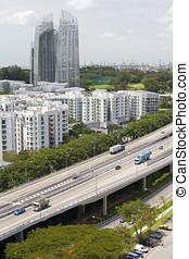 perfil de ciudad, tráfico, carretera, singapur