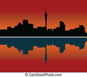 perfil de ciudad, vector, auckland