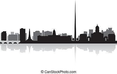 perfil de ciudad, vector, dublín, silueta