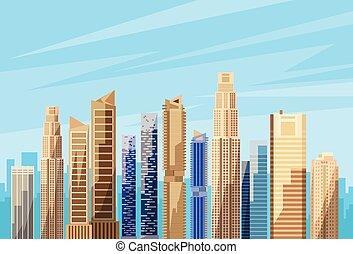 perfil de ciudad, vector, rascacielos, cityscape, vista