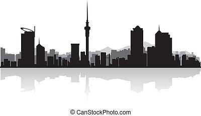 perfil de ciudad, vector, silueta, auckland