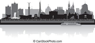 perfil de ciudad, vector, silueta, samara