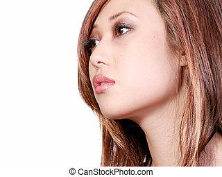 perfil, de, mujer asiática