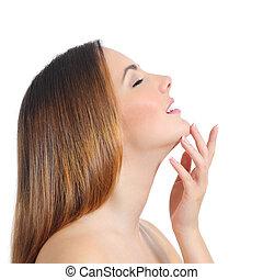 perfil, de, um, beleza, rosto mulher, pele, e, mão, manicure