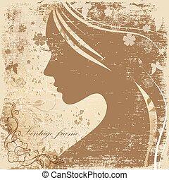 perfil, de, um, bonito, menina, ligado, a, fundo, de, antigas, papel
