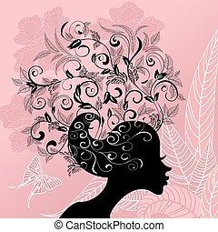 perfil, de, um, menina, com, cabelo, decorado, com, flores