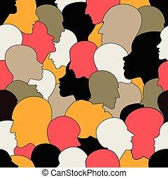 perfil, diferente, cabeças, torcida, pessoas, padrão, seamless, experiência., vetorial, muitos, ethnic., diverso