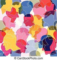 perfil, diferente, torcida, pessoas, padrão, heads., seamless, experiência., vetorial, muitos