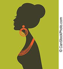 perfil, elegante, femininas