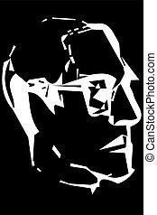 perfil, esboço, homem, vetorial, retrato, óculos