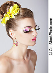 perfil, fantástico, mulher, olho, na moda,  glam, espantoso, maquiagem