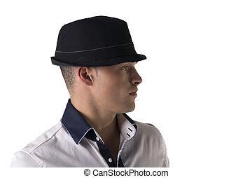 perfil, fedora, camisa, aislado, joven, atractivo, blanco, blanco, hombre, vista