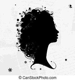 perfil feminino, silueta, floral, penteado, para, seu, desenho