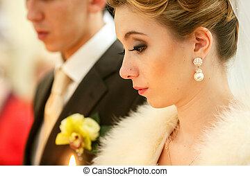 perfil, ficar, obrigação, noiva, pensativo, cerimônia, durante