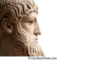 perfil, griego, horizontal, dios