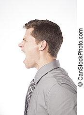 perfil, gritando, homem negócio