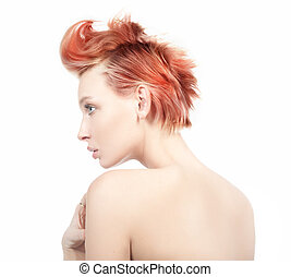 perfil, haired, mujer, rojo, vista