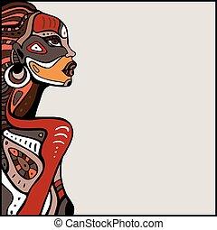 perfil, hermoso, mujer, africano