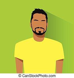 perfil, hispano, avatar, retrato, macho, casual, icono