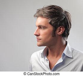 perfil, hombre