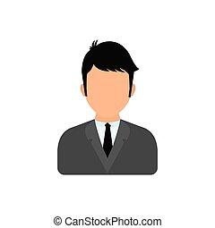 perfil, homem negócios, executivo