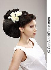 perfil, independiente, peinado, mujer, charisma., flores, futurista, orquídea