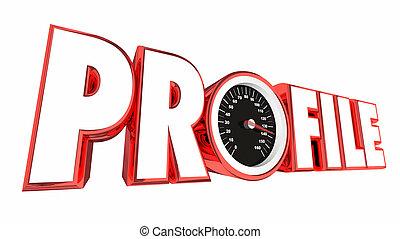 perfil, informação, ilustração, aqui, velocímetro, seu, 3d