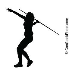 perfil, jabalina, arriba, corriente, lanzador, niña, tiro, lado