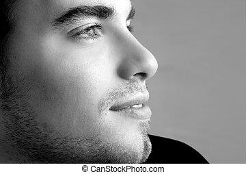 perfil, jovem, enfrente retrato, homem, bonito