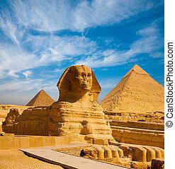 perfil, lleno, esfinge, pirámides, giza, sendero