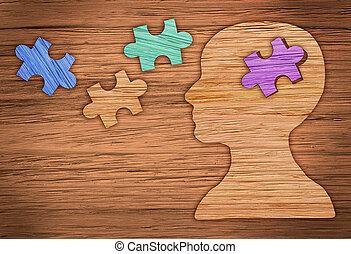 perfil, marrón, cabeza, hecho, puzzle., papel, humano