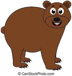 perfil, marrom, sorrindo, seu, urso