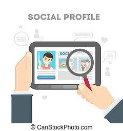 perfil, media., social