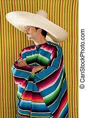 perfil, mexicano, sombrero, típico, serape, poncho, hombre