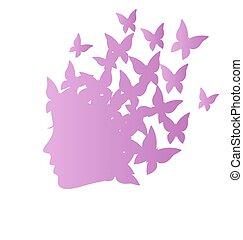 perfil, mujer, belleza, grayscale, mariposas, icono