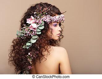 perfil, mujer, colorido, valentino, guirnalda, flowers., día