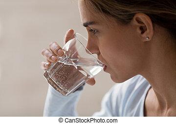perfil, mujer, cristal del agua, primer plano, puro,...